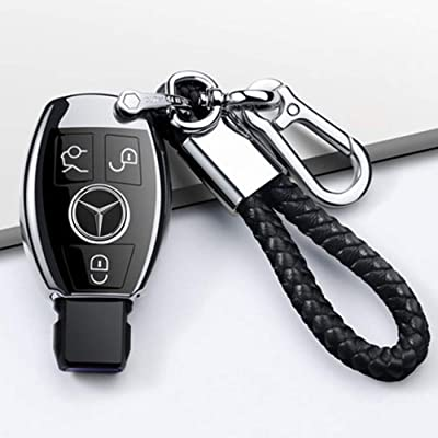 Longzheyu for Mercedes Benz Key Fob Cover, Premium Soft TPU Key Case Cover Compatible with Mercedes Benz C E S M CLS CLK G Class Keyless Smart Key Fob_Silver: Automotive