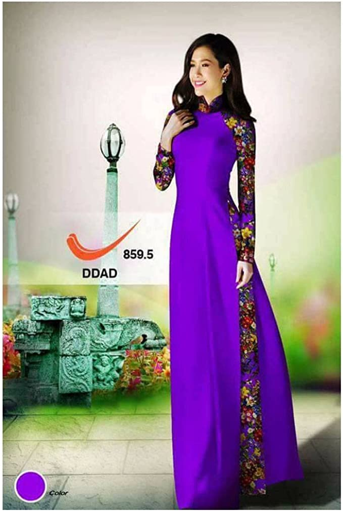 Silk 3D ADVN0405202228 Ao Dai Traditional Vietnamese Long Dress Collections with Pants