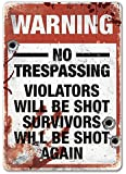 Warning Trespassers will be shot - Metal Wall Sign Plaque - Funny, guns, shooting