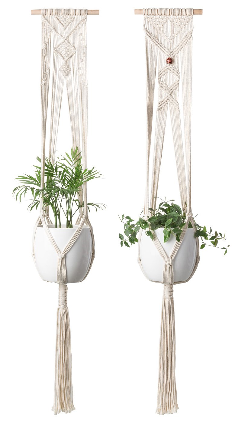 Mkono Macrame Plant Hanger Hanging Planter Wall Art Home Decor 46 inches, Set of 2 by Mkono