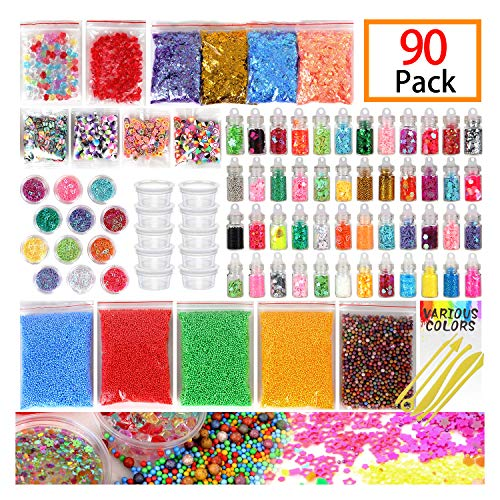 Slime Supplies Kit, 90 Pack Slime Beads Charms, Include Fishbowl Beads, Foam Balls, Glitter Jars, Drop Water Plum Blossom Love Smiley face Slices, Simulation Ice, Colorful Foam Beads, Slime Tools