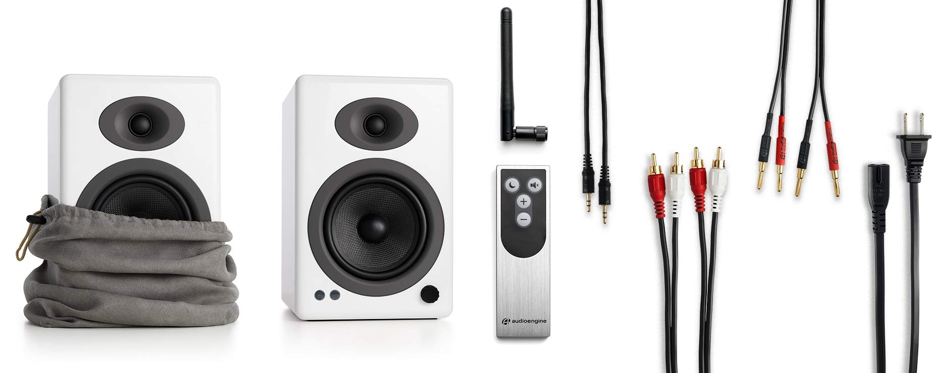 Audioengine A5+ 150W Wireless Powered Bookshelf Speakers   Built-in Analog Amplifier   aptX HD Bluetooth 24 Bit DAC, RCA and 3.5mm inputs   Solid Aluminium Remote Control   Cables Included by Audioengine (Image #3)