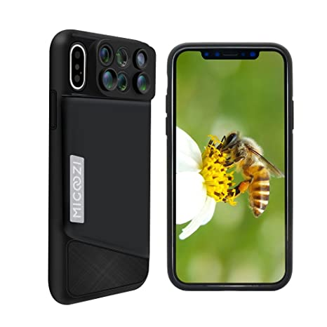 iPhone X Lens, 6 in 1 Dual Camera Lens Kit, 180 Degree Fisheye Lens, 0 65X  Super Wide Angle Lens, 10X/20X Zoom Macro Lens, Telescope Lens with Phone