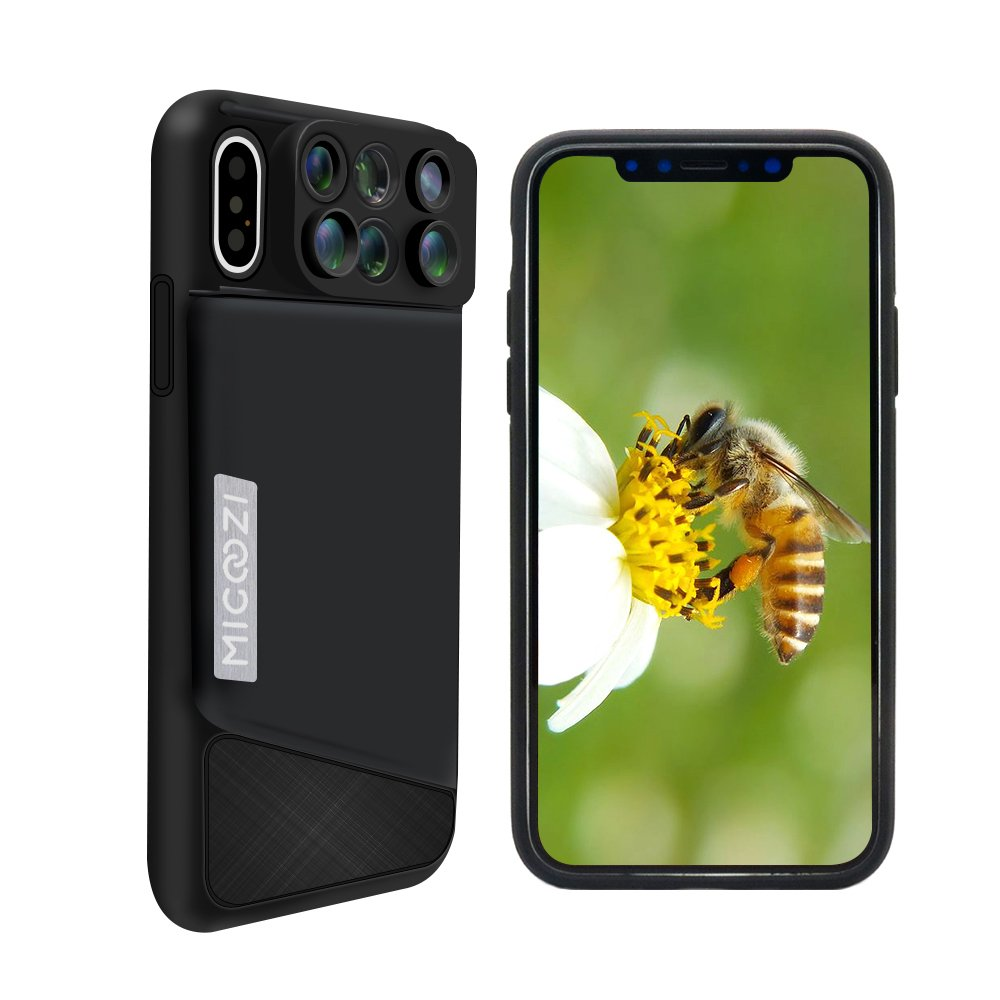 iPhone X Lens, MIGOOZI 6 in 1 Dual Camera Lens For iPhone 10, 180 Degree Fisheye Lens, 0.65X Super Wide Angle Lens, 10X/20X Zoom Macro Lens, Telescope Lens with Phone Case Cover For Apple iPhone X