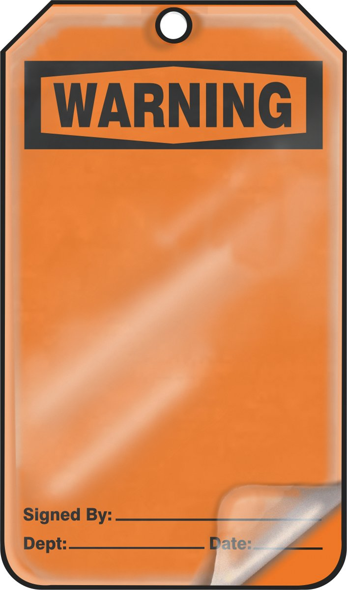 LegendWarning 5.75 Length x 3.25 Width x 0.015 Thickness Blank Pack of 25 Accuform MDT300LPP RP-Plastic Safety Tag Black on Orange