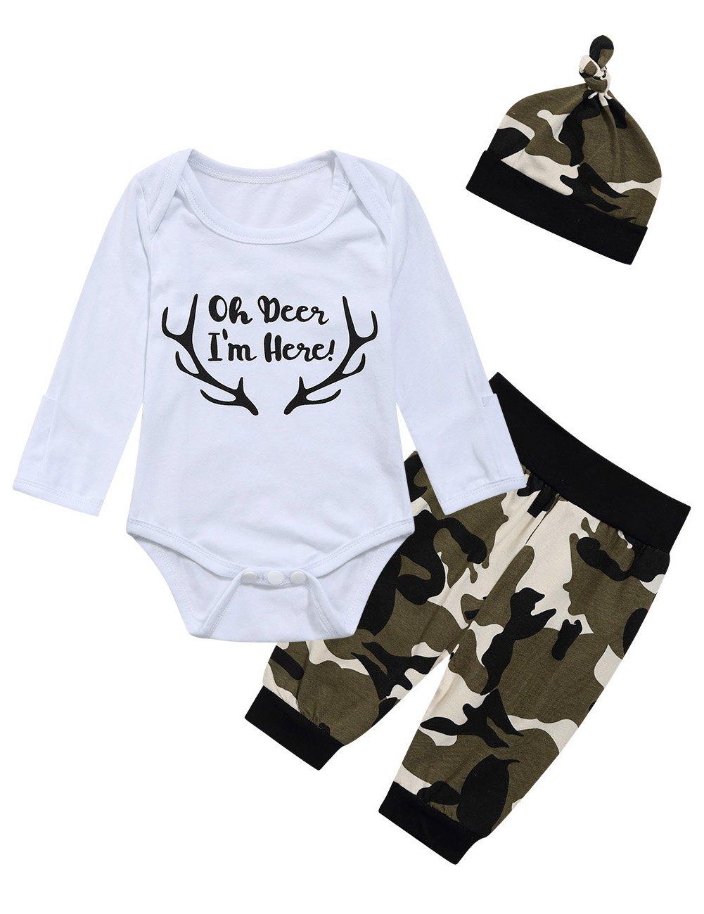 Oh Deer Baby Boys Bodysuit Tops Camouflage Pants Hat 3PCS Outfit Set