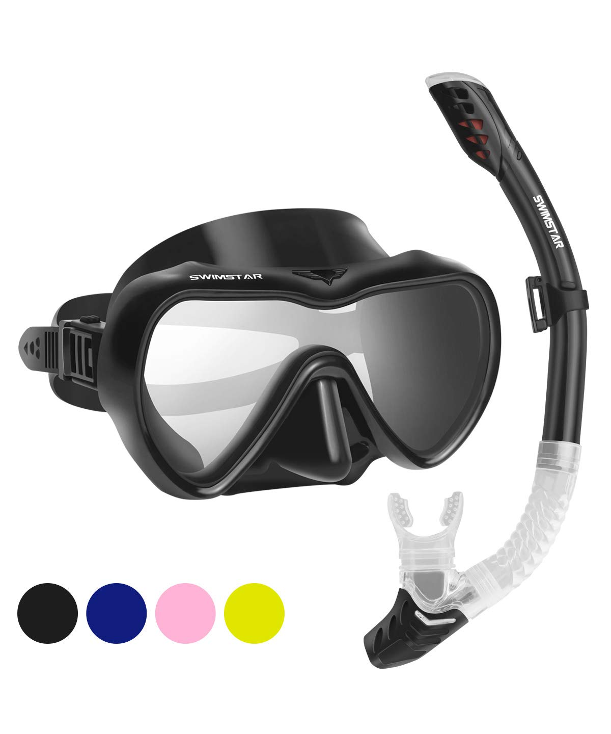 2019 Snorkel Set for Women and Men, Anti Fog Tempered Glass Snorkel Mask for Snorkeling, Swimming and Scuba Diving, Anti Leak Dry Top Snorkel Gear Panoramic Silicone Goggle No Leak Black by SwimStar