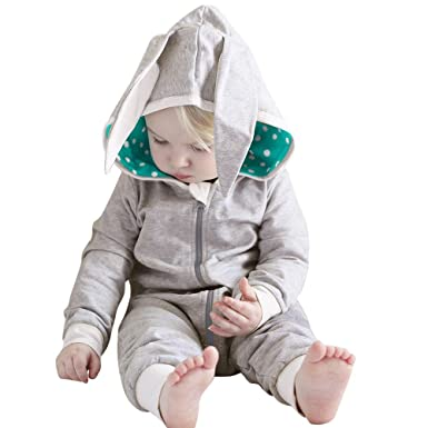 b3054844cae5 Taylorean Girl Boy Hooded Romper Jumpsuit Friend Rabbit 3D Ear ...