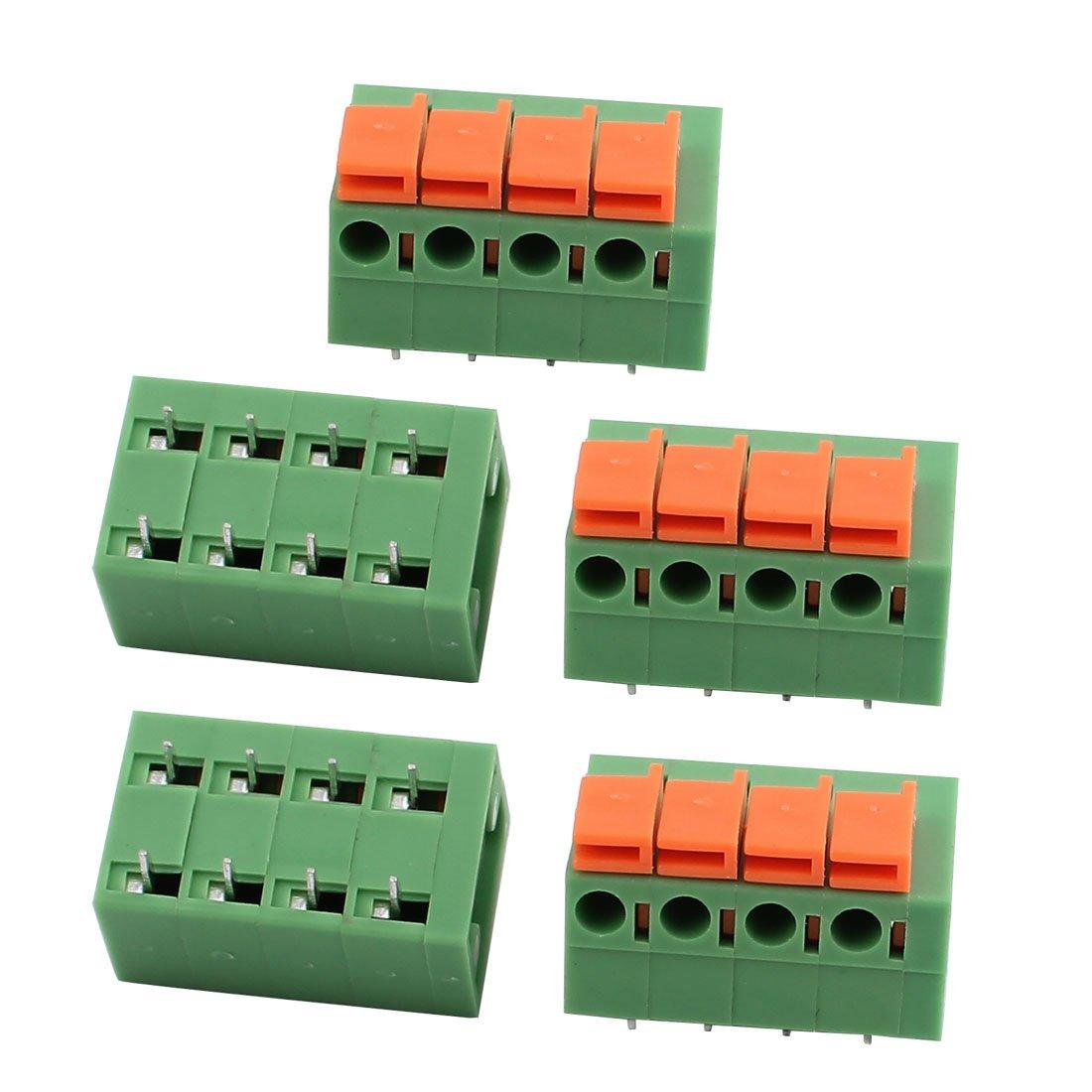5pcs KF142R 250V 15A 4P 5, 08 mm bornier à ressort pour montage sur CI 08 mm bornier à ressort pour montage sur CI sourcing map a17033000ux0323