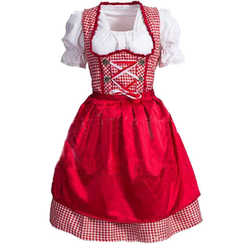 Partiss Damen Frauen Oktoberfest Schuetzenfest Dirndl Beer Girl Trachtenkleid Kleid mit kariertem Rock Weiss Rot Schuerze