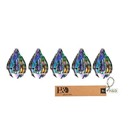 H&D 5PCS 76MM Colorful Crystal Chandelier Lamp Hanging Ornament Parts Crystal Loquat DIY Suncatcher Rainbow Maker Crystal Prism Pendant : Garden & Outdoor