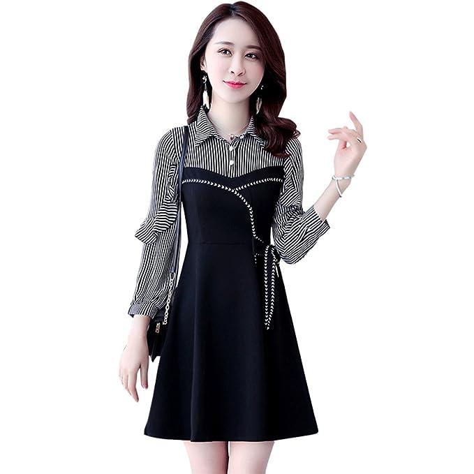 Vestido negro falda rayas