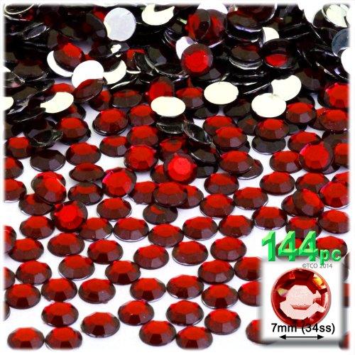 The Crafts Outlet 144-Piece Flat Back Round Rhinestones, 7mm, Devil Red Wine (Devils Round Crystal)