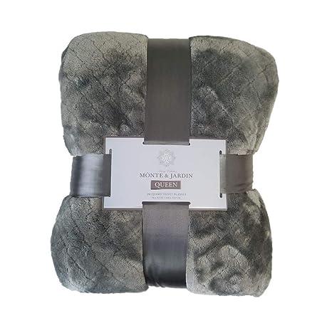 Monte & Jardin Jacquard Velvet Blanket Grey Queen