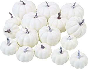 URATOT 16 Pack Assorted Sizes White Artificial Pumpkins Rustic Harvest Lifelike Pumpkins for Thanksgiving Home Garden, Fall Harvest Decor, Assorted 3.8, 3, 2.4 Inches