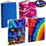 Stretchable Book Cover Design Packs. Fits Most Hardcover Textbooks up to 9 x 11. Our Nylon Fabric Protector Set is A Needed School Supply for Students. Washable and Reusable (4 Pack, Outdoor)