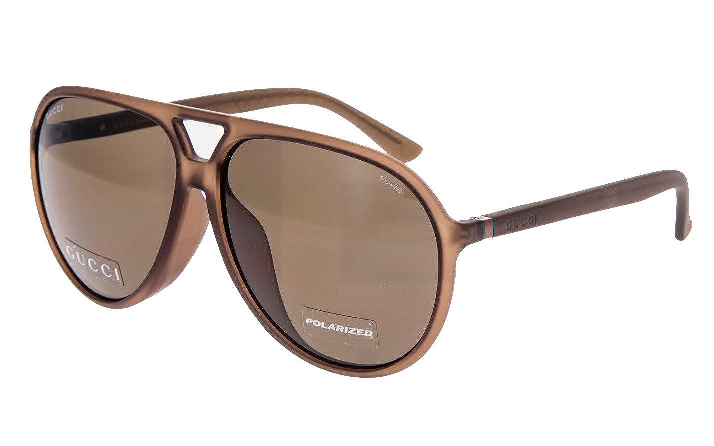 d3da6c49dd9b Amazon.com: GUCCI Aviator Brown Translucent POLARIZED Sport Sunglasses  1090: Clothing