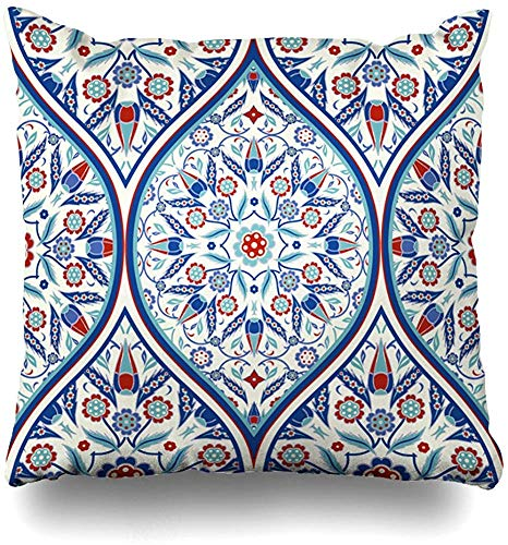 Fhdang Decor Pillows Case Two Sides Printed Turkish Used Ceramic Tile Wallpaper Linoleum ILE Invitation Wrapping Web Page Traditional Ornament Throw Pillow Cover 22x22 Inch