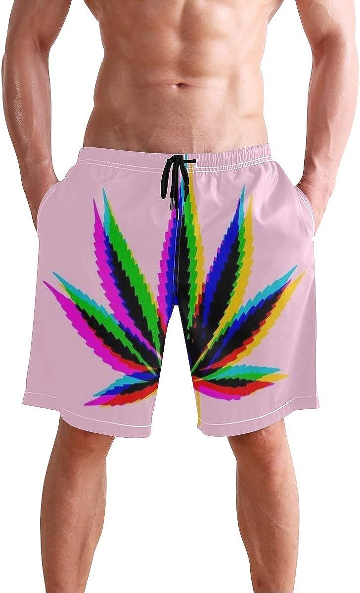 Pantalones cortos de marihuana con hojas de cannabis de secado rápido, bañador para playa