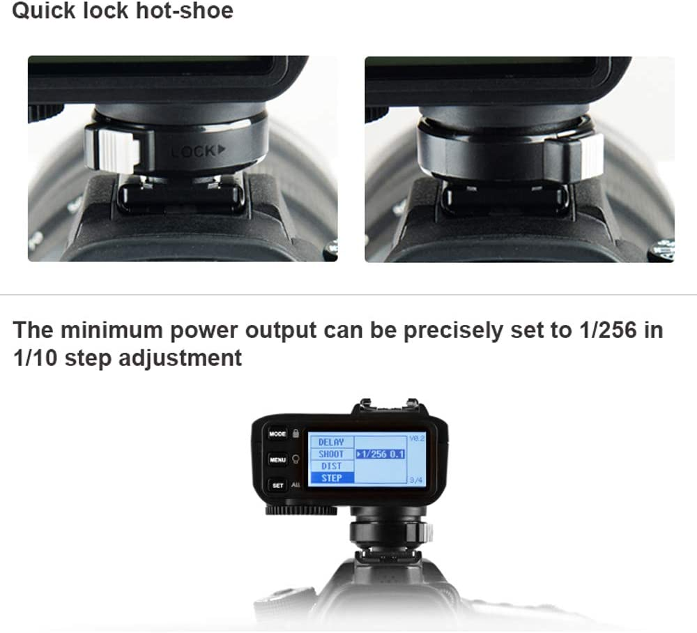 Bluetooth Connection 1//8000s HSS New Hotshoe Locking Godox X2T-C TTL Wireless Transmitter Compatible with Canon DSLR 5 Separate Group Buttons Relocated Control-Wheel