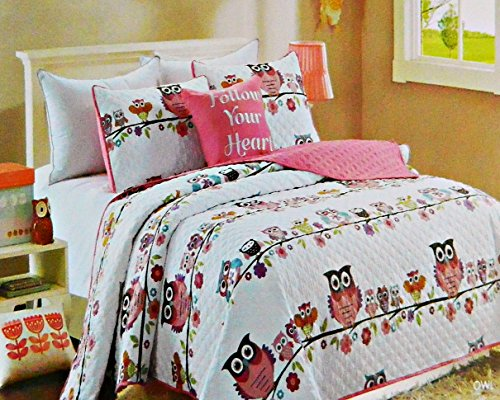 Girls Twin Size Pink Nature Owls on a Tree Branch with Flowers Quilt Set With Decorative Pillow