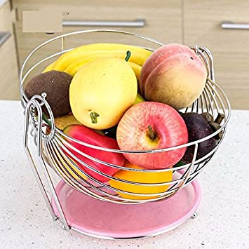 Fruit plate stainless steel fruit basket rocking Lek fruit bowl living room decorative fruit fruit basket & Amazon.com | Fruit plate stainless steel fruit basket rocking Lek ...