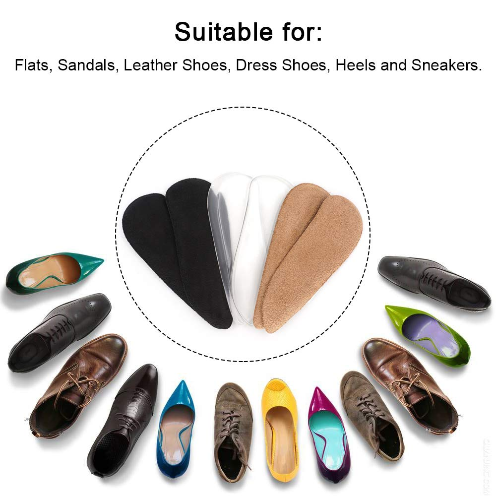 SQHT Medial & Lateral Heel Wedge Gel Shoe Insoles for Foot Alignment, Knock Knee Pain, Osteoarthritis, Bow Legs - Supination & Pronation Corrective Self-Adhesive Shoe Inserts (Transparent+Black)