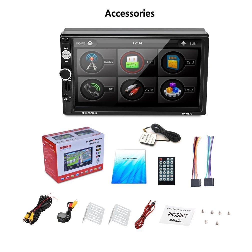 Auto Radio Dual Din, Footprintse Car Audio Bluetooth Pantalla táctil de 7 pulgadas Full HD1080P, Control remoto por infrarrojos / FM / AM / RDS / TF / USB ...