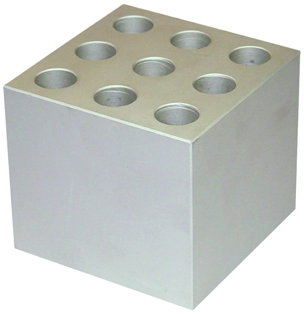 FinePCR AB90-15 Aluminum Block for 25X15mm Test Tubes, Holds 25, 3-1/2'' x 2-3/8'' x 3-1/2''