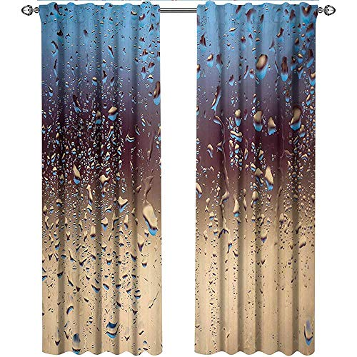 (Rain, Kitchen Curtains and Valances Set, Close Up Rain Drops on Glass Natural Sprays Sphere Contrasting Colors Picture, Curtains and Drapes for Living Room, W96 x L108 Inch, Blue Tan Brown)