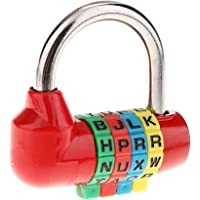 Slot voor koffer, reishangslot, cijferslot met 4 cijfers - rood