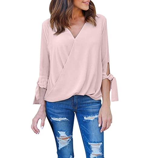 0c35c66b1 Image Unavailable. Image not available for. Color: Kangma Women V-Neck Chiffon  Long Sleeve Ladies Shirt Tops Blouse Pink