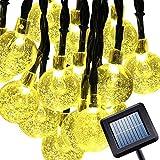 [8 Modes 30 LEDs] Milocos Solar Crystal Ball String Lights, Fairy Orb Crystal Ball Lighting for Christmas Trees, Garden, Patio, Wedding, 20 Feet, Waterproof, Warm White