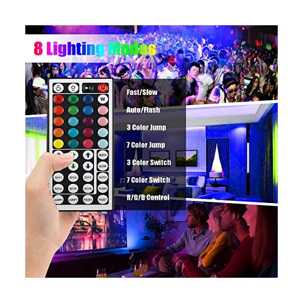 LED Strip Light, 16.4 ft Waterproof Music RGB 5050 Led Rope Lights Color Changing LED Light Strip Kit with Remote… 4