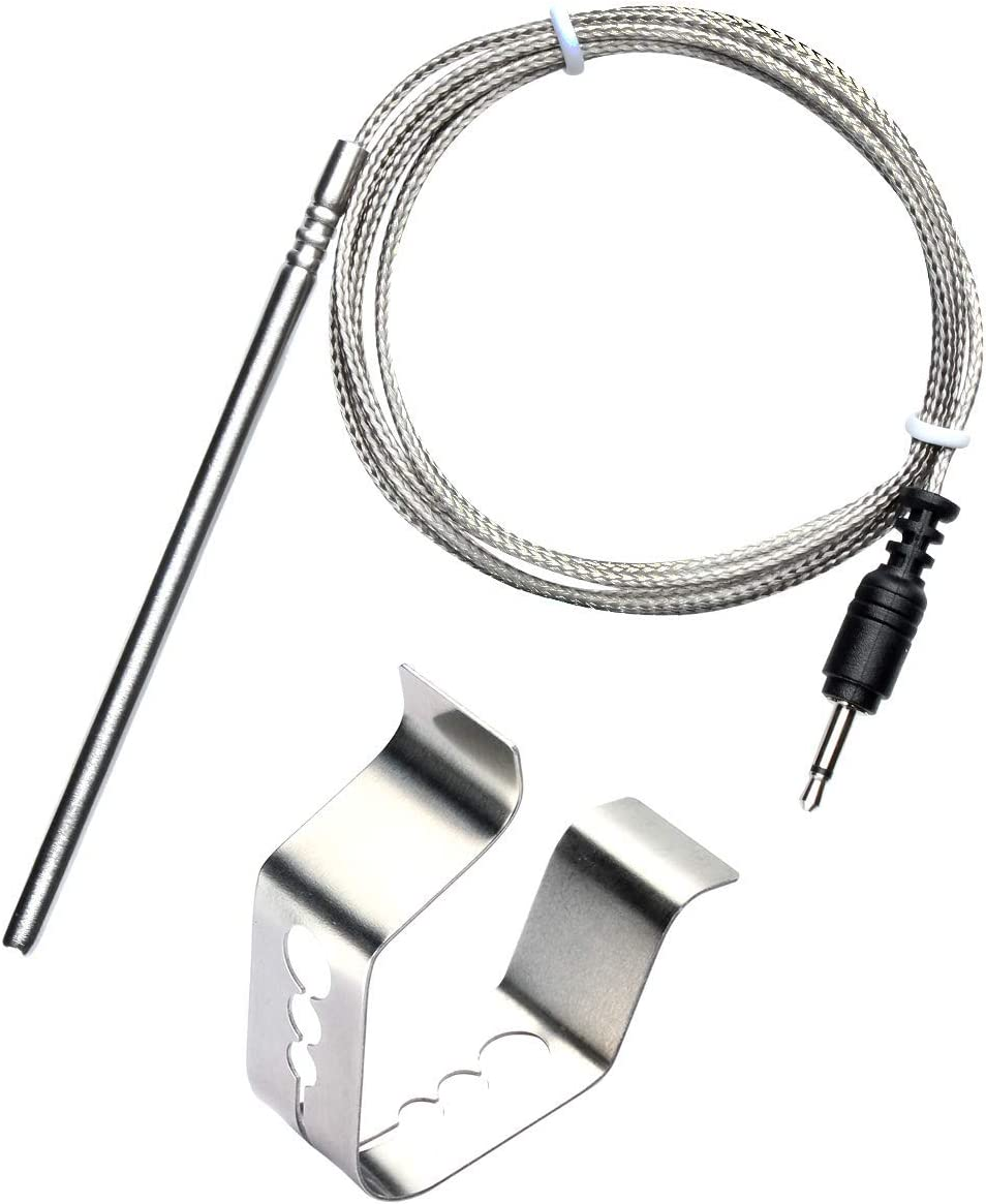 BBQGO Ambient Temperature Barbecue Grilling Oven Grill Thermometer Probe Replacement and Clip for iGrill, iGrill2, iGrill3, iGrill Mini Grilleye,Pro Plus Cappec with 4 ft Stainless,Oven probe and clip
