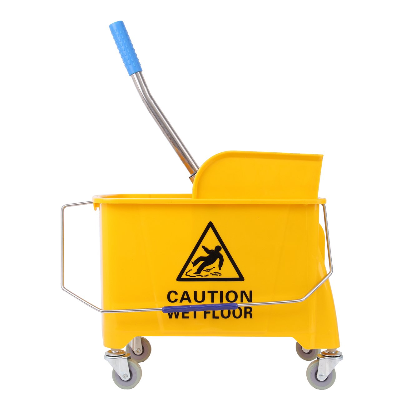 Ridgeyard Commercial Side Press Mop Bucket with Wringer 21 Quart (5.28 Gallon) Yellow Combo Bucket w/ 4 Wheels Mother's Day Gift