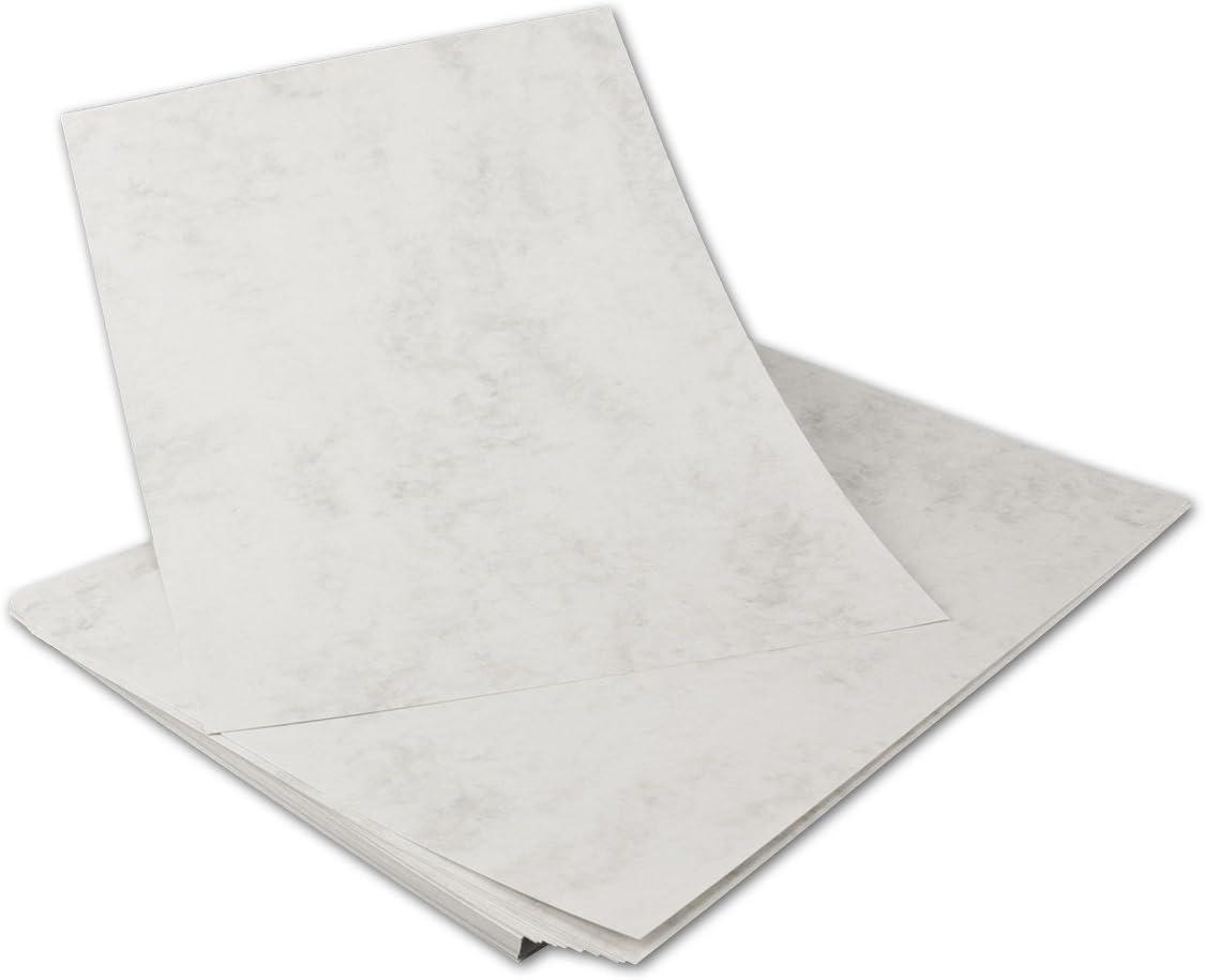50 St/ück I DIN A4 Karton Grau marmoriert 200 g//qm 210 x 297 mm I PROFESSIONELLE QUALIT/ÄT Echtes Marmorpapier