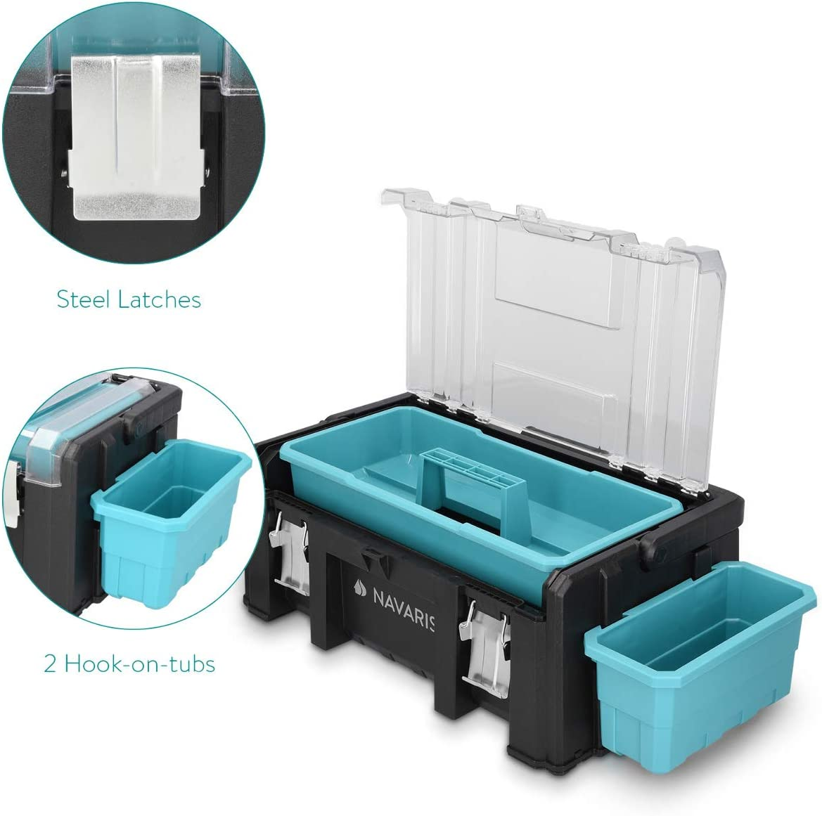 Navaris caja de herramientas de pl/ástico Malet/ín para bricolaje con asa de aluminio Organizador con 2 cierres de acero y 1 bandeja extra/íble