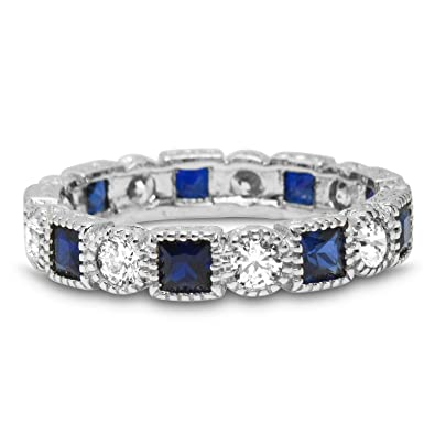ad69f757f0d37 Sterling Silver Simulated Blue Sapphire Stackable Band Ring