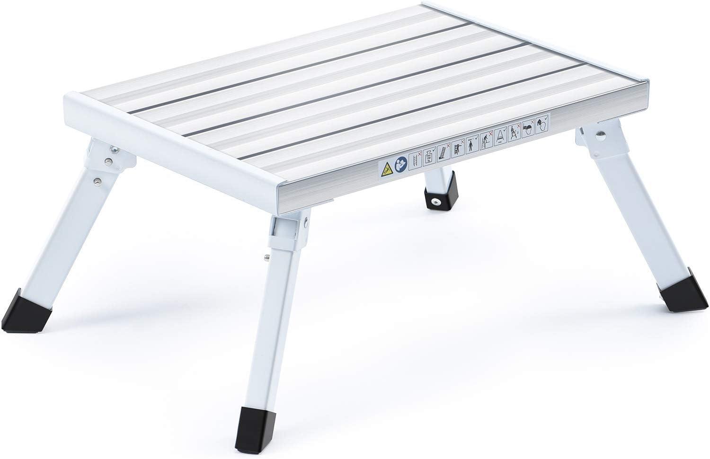 Belastbarkeit 150 kg tragbar Kingrack WKUK3501 Trittleiter aus Aluminium zusammenklappbarer Hocker mit max leichte Trittleiter mit rutschfester Plattform