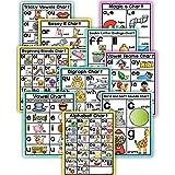 Richardy 10Pcs/Set English Phonics A4 Posters Flash Cards Alphabet Chart Classroom Decoration Match