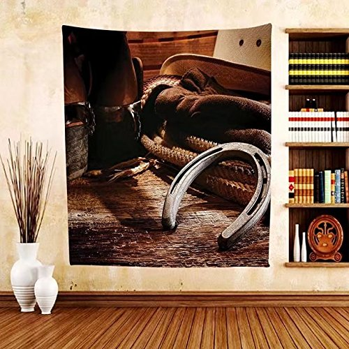 Gzhihine Custom tapestry Western Decor Tapestry Boho Folklore Materials Classic Style Roper Boots Equestrian Life Icons Heels View for Bedroom Living Room Dorm (Aztec Mens Roper)