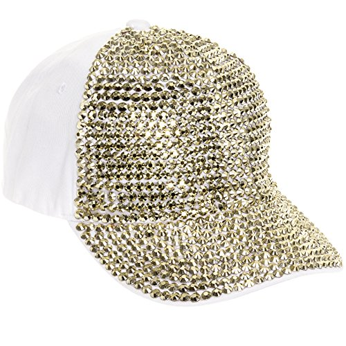 Crystal Case Womens Cotton Rhinestone Studded Baseball Cap Hat (White/Gold)