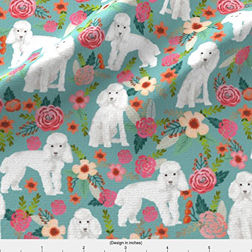 Spoonflower Toy Poodle Fabric Toy Poodle Florals Dog Fabric Toy Dogs Breeds - Gulf Blue by Petfriendly Printed on Basic Cotton Ultra Fabric by The Yard -