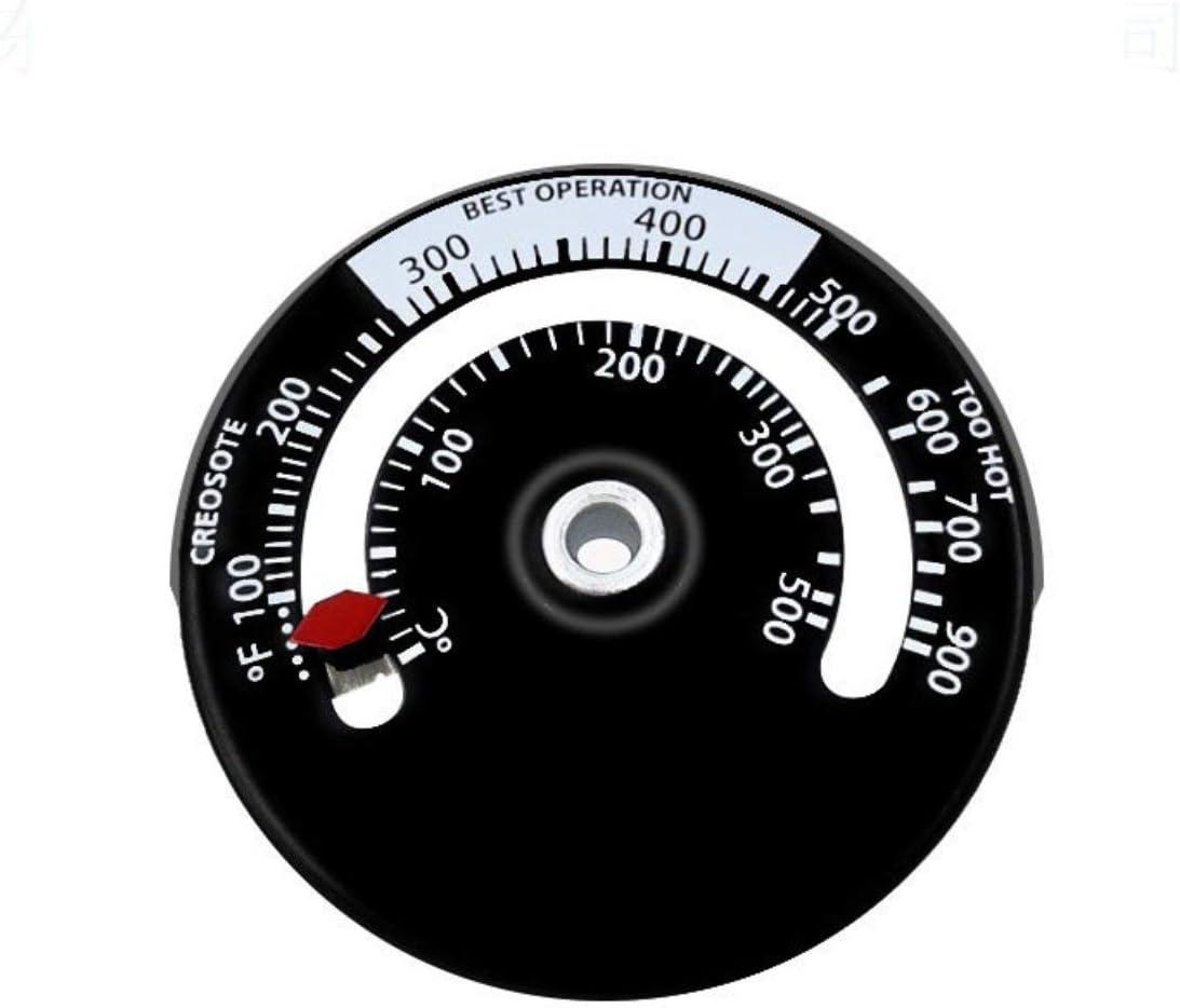 Termómetro de tubo de combustión de la estufa magnética Indicador de quemado de la estufa Indicador de temperatura del calentador Estufa de leña Termómetro de ventilador de la estufa (blanco y negro)