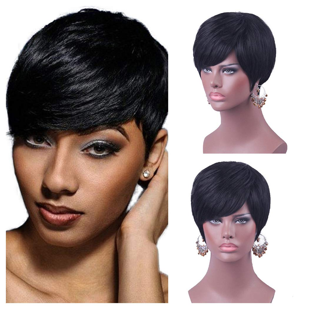Amazon.com  Inkach Women Short Straight Bob Synthetic Wigs with Side Part  Bang Natural Looking Human Hair (Black Women Wig)  Toys   Games 96bab68cff