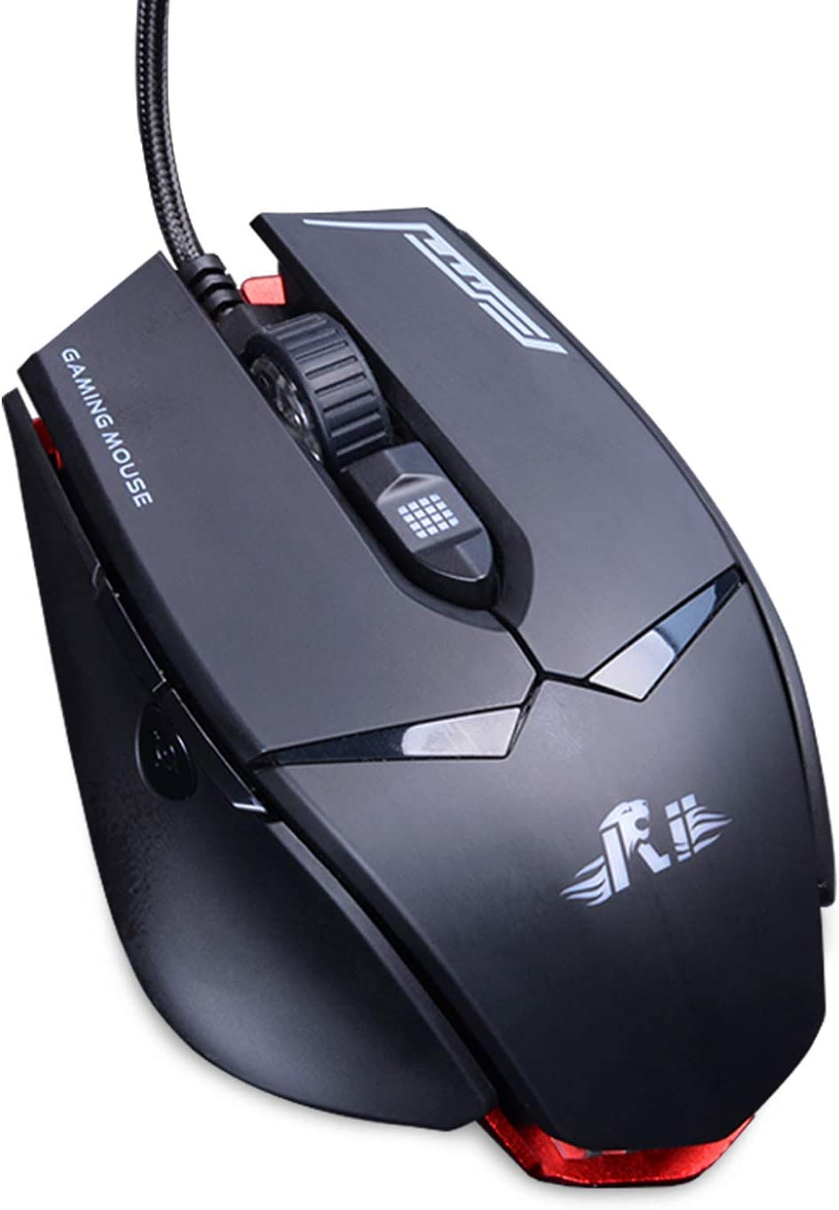 Gaming Mouse,Rii M01 USB Wired Gaming Mouse with Red Led,12,000 Adjustible DPI,Optical Sensor Pixart PMW3360 for PC,Gaming,Office