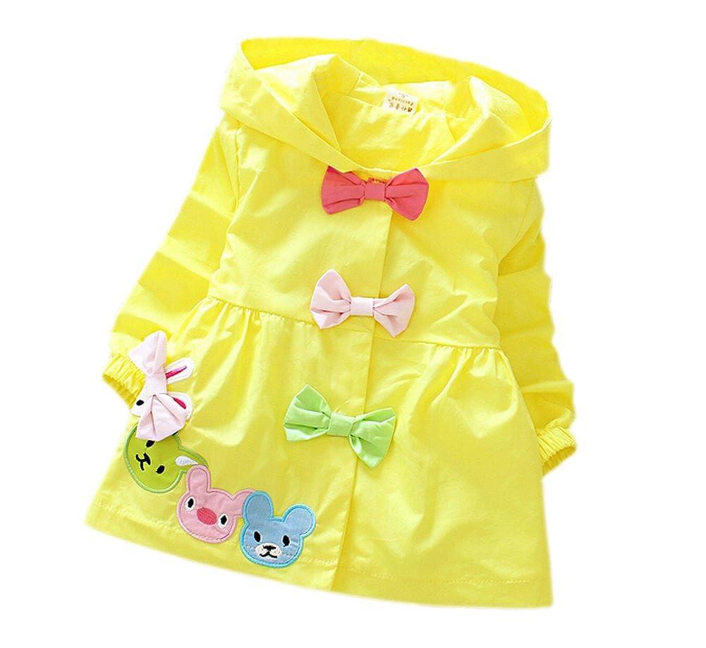 DELEY Ragazze Bambino Primavera Autunno di Colore di Candy Archi Trench Giacca Cappotto con Cappuccio Vestito Outwear