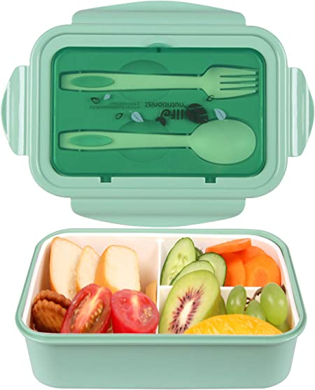 MEIXI Fiambrera Infantil Caja de Bento con 3 Compartimentos y Cubiertos Fiambreras Caja de Alimentos Ideal para Almuerzo y Bocadillos para Niños y Adultos (Verde): Amazon.es: Hogar