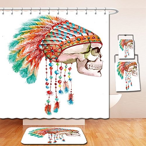 Beshowereb Bath Suit: Showercurtain Bathrug Bathtowel Handtowel indian tribal hat and skull watercolor bright illustration (Maiden Of The Sea Pirate Hat)